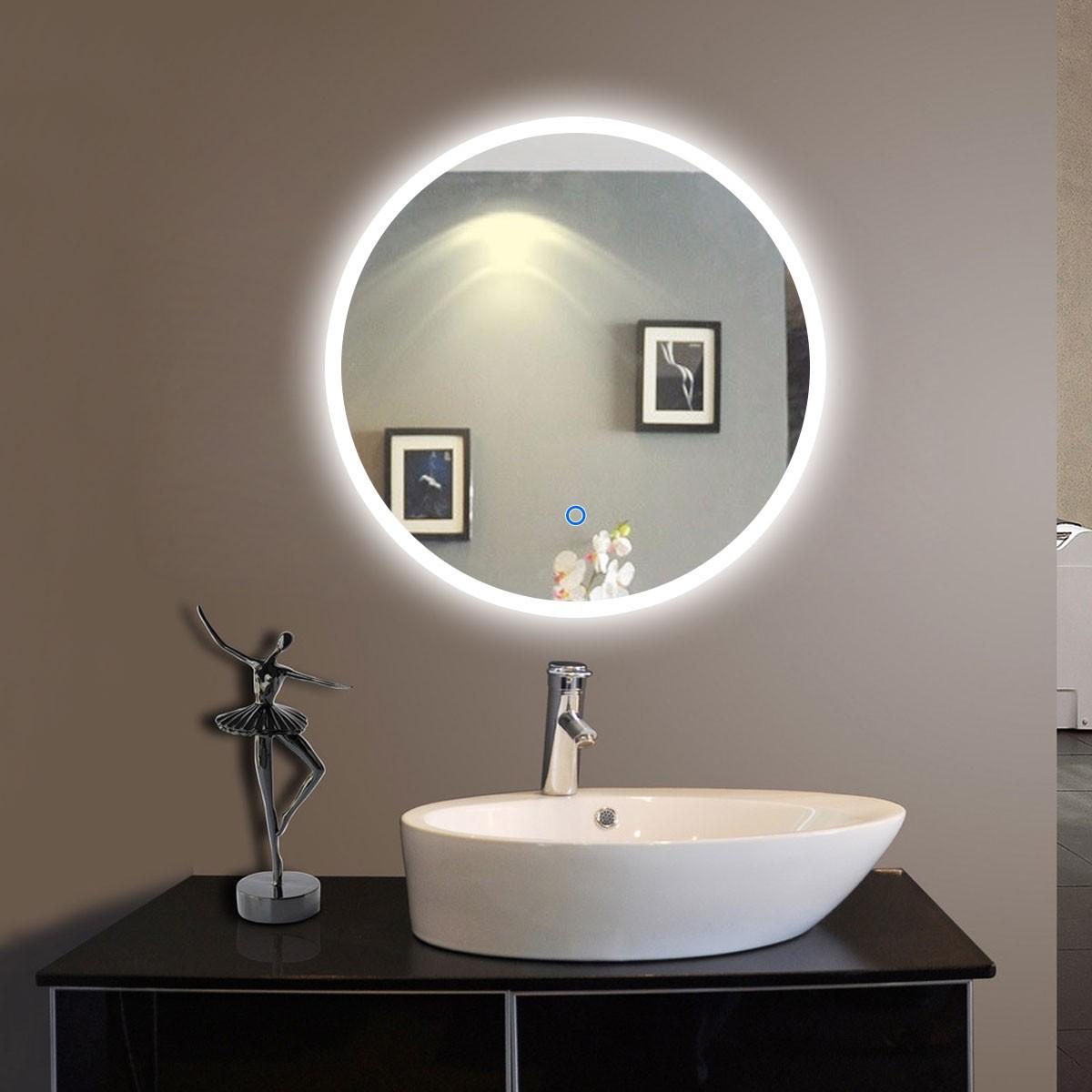 24 x 24 po Miroir LED Rond Argenté de Salle de Bains avec l