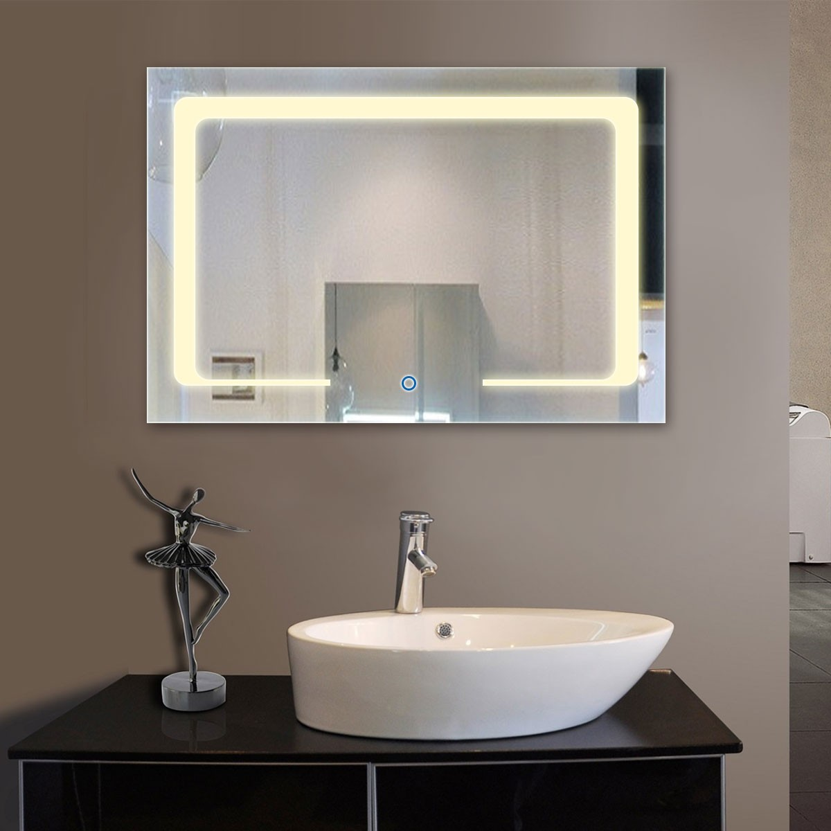 36 x 28 po miroir de salle de bain LED horizontal avec bouton tactile (DK-OD-CL129)