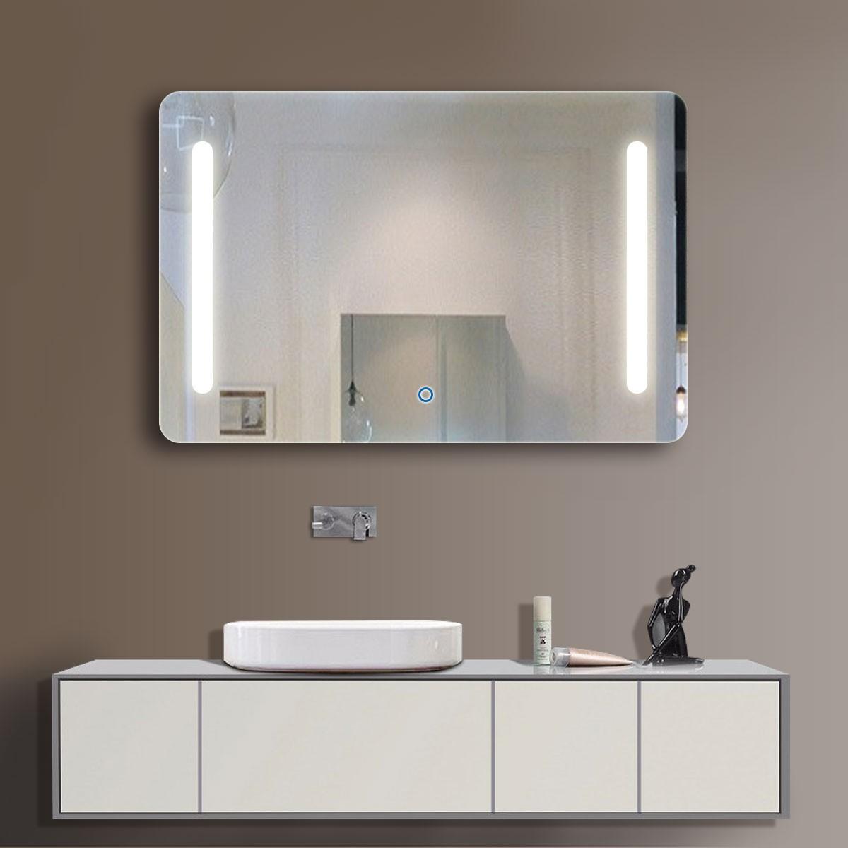 28 x 36 po miroir horizontal argent led salle de bains avec interrupteur tactile dk od n027 - Interrupteur miroir salle de bain ...