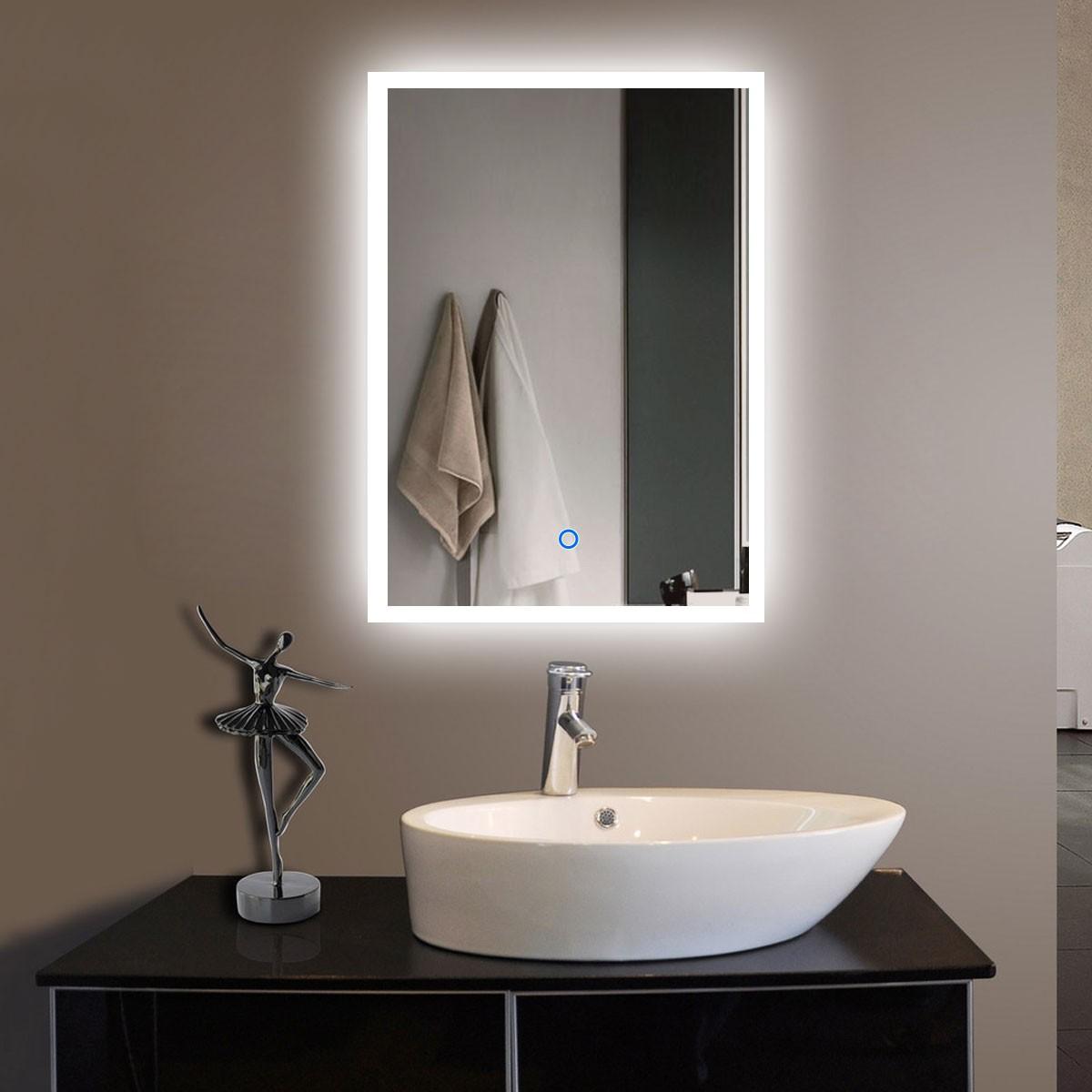 20 x 28 po miroir de salle de bain LED vertical avec bouton tactile (DK-OD-N031-H)