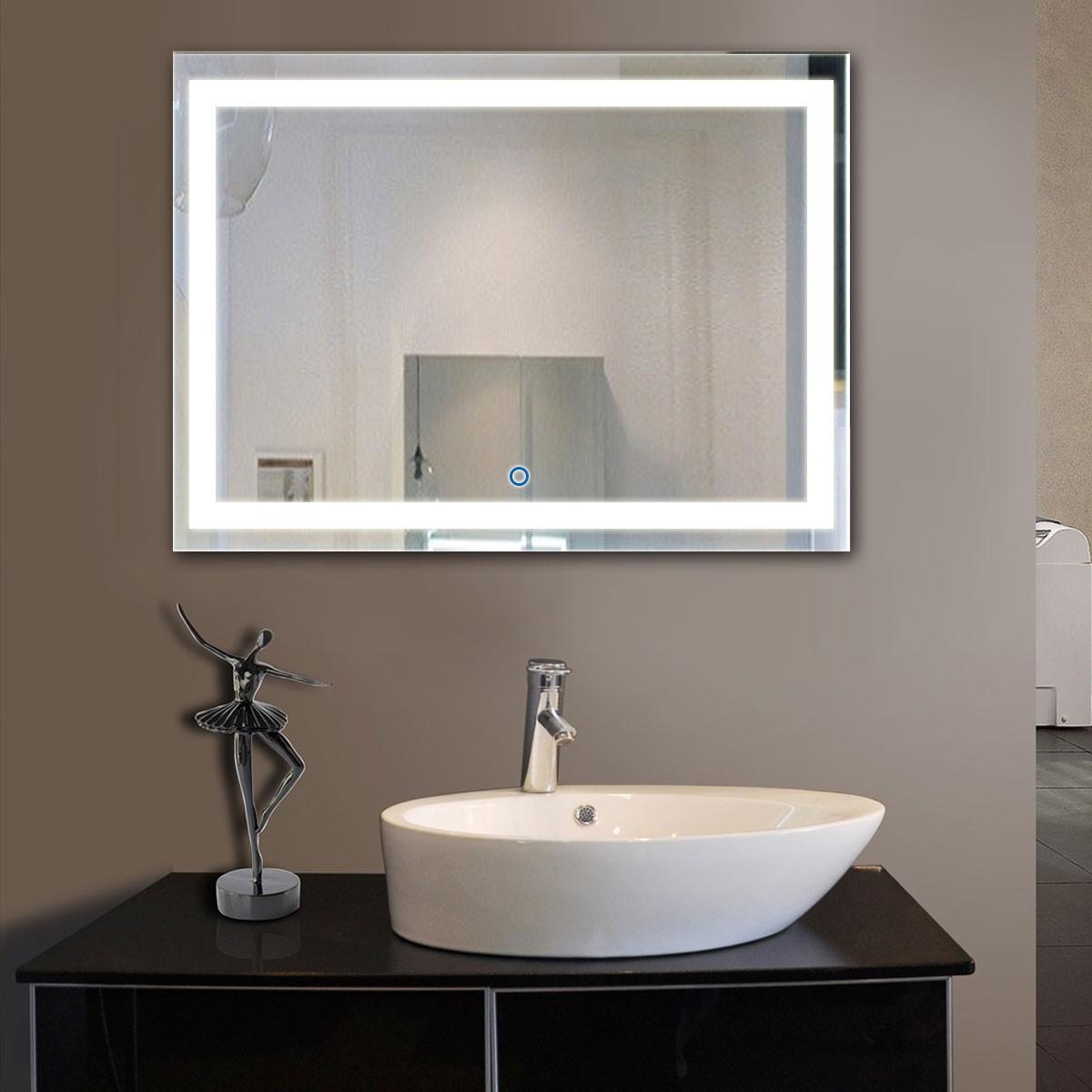 Salle De Bain Vieux Rose ~ 48 X 36 Po Miroir Led Salle De Bain Horizontal Avec L Interrupteur