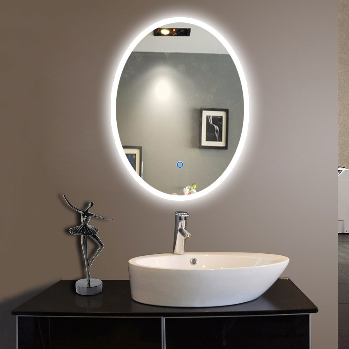 20 po x 28 po miroir led ovale argent de salle de bain avec l interrupteur tactile dk od cl054. Black Bedroom Furniture Sets. Home Design Ideas