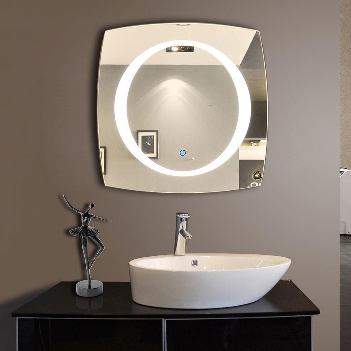 28 x 28 po miroir de salle de bain LED avec bouton tactile (DK-OD-N006-A)