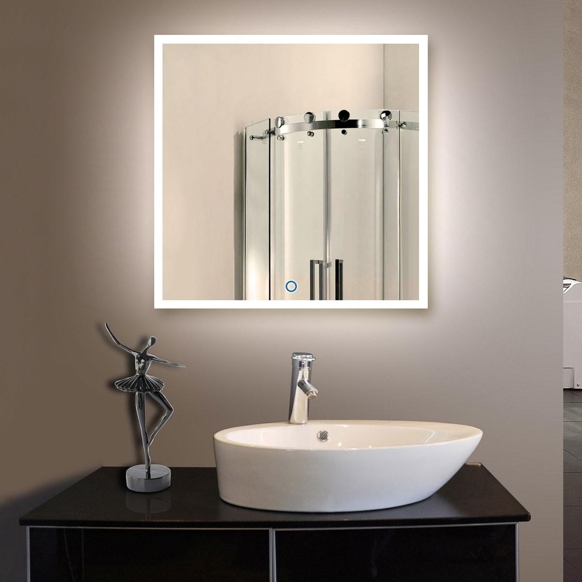 36 x 36 po miroir led salle de bain vertical avec l for Miroir salle de bain avec led