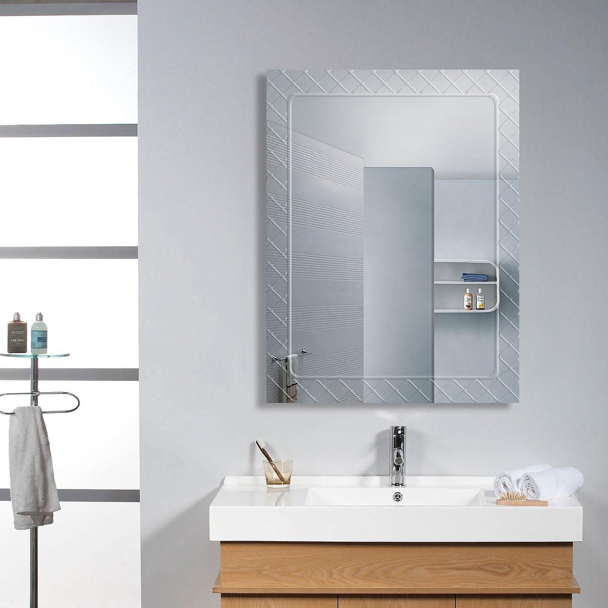 18 x 24 po Miroir Mural Salle de Bain Classique Rectangulaire sans Cadre - Accrochage Vertical (DK-OD-B083C)