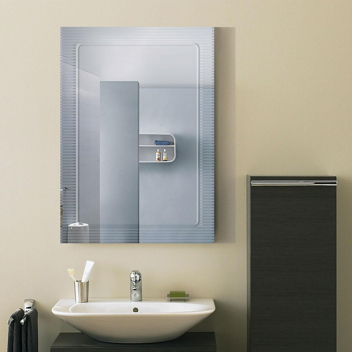 28 x 20 po Miroir Mural Salle de Bain Classique Rectangulaire sans Cadre - Accrochage Vertical (DK-OD-B067B)