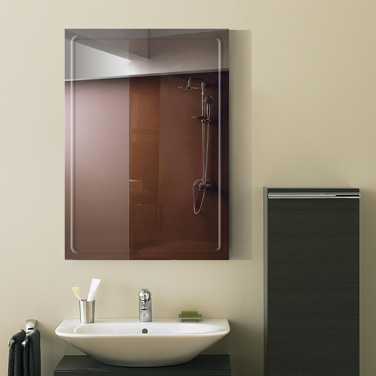 28 x 20 po miroir mural salle de bain classique for Miroir mural sans cadre