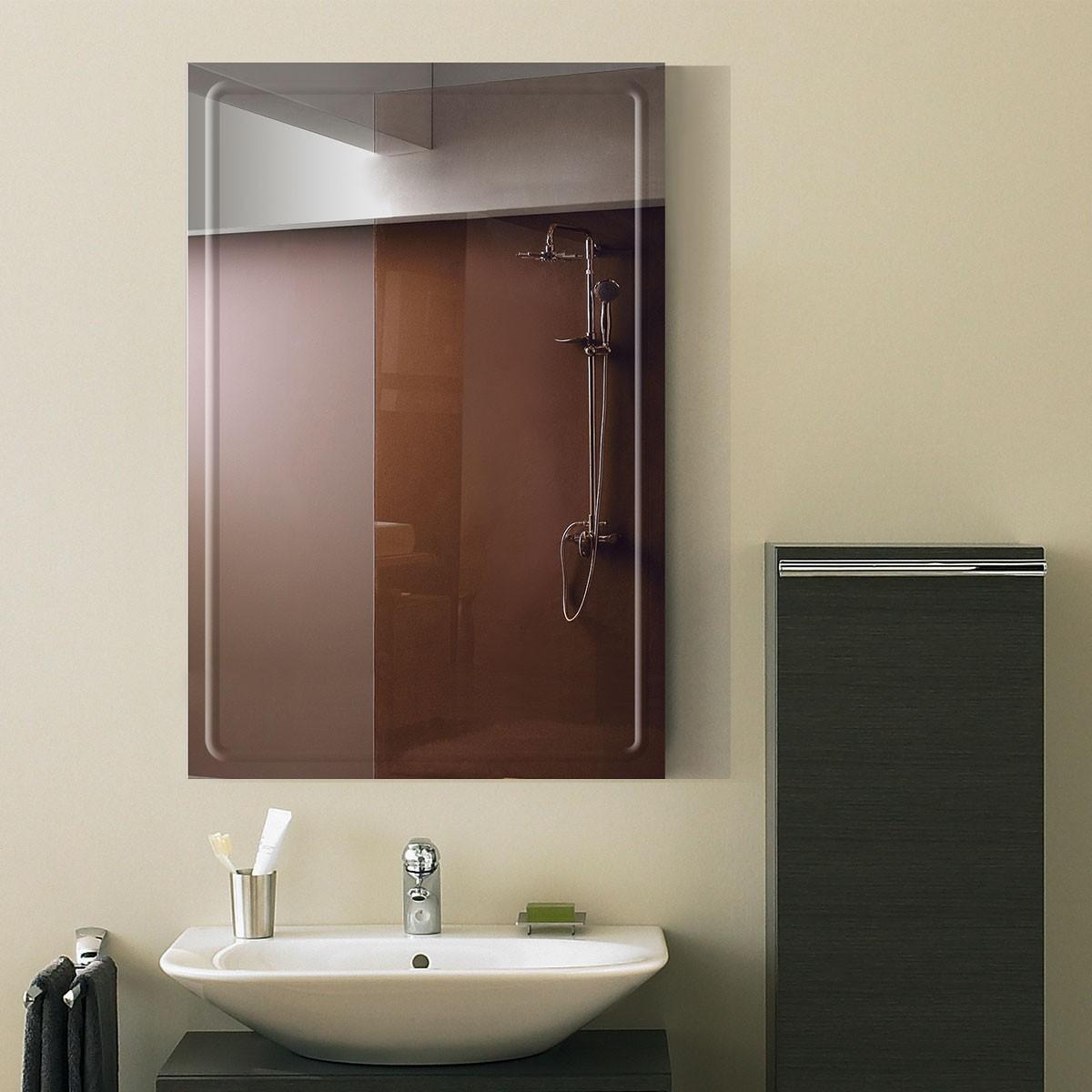 24 x 36 po Miroir Mural Salle de Bain Classique Rectangulaire sans Cadre - Accrochage Vertical (DK-OD-B048A)