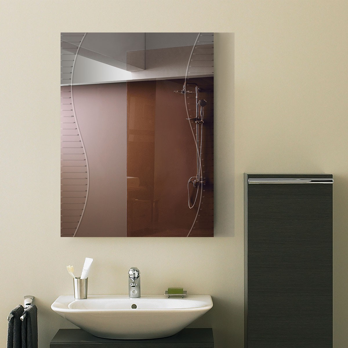 18 x 24 po Miroir Mural Salle de Bain Classique Rectangulaire sans Cadre - Accrochage Vertical (DK-OD-B068C)