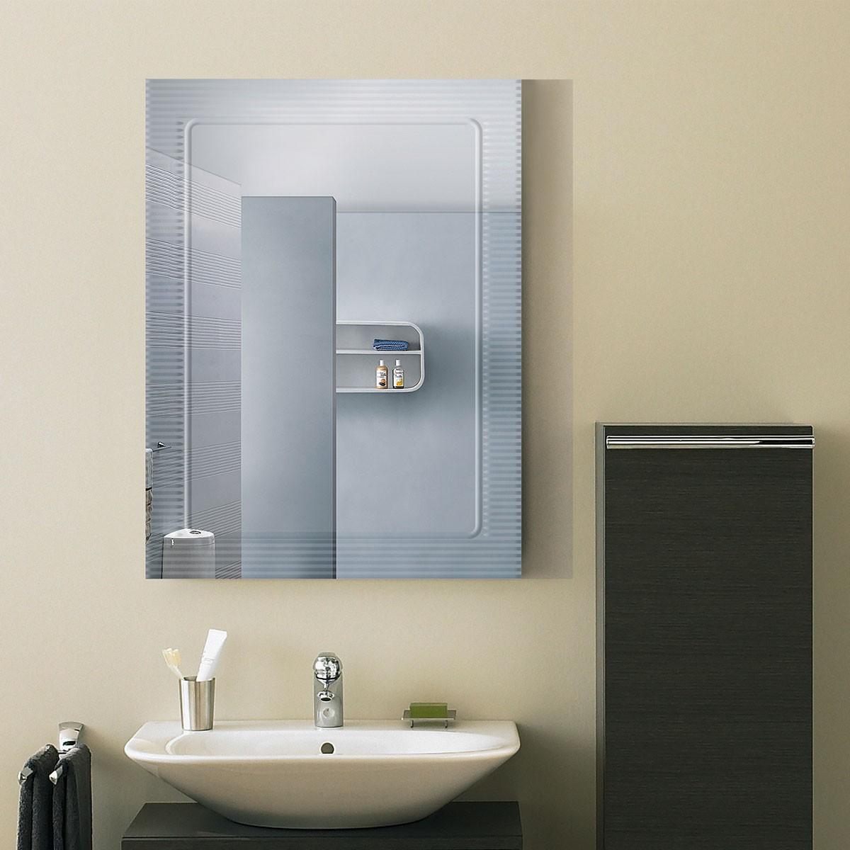 24 x 18 po Miroir Mural Salle de Bain Classique Rectangulaire sans Cadre - Accrochage Vertical (DK-OD-B067C)