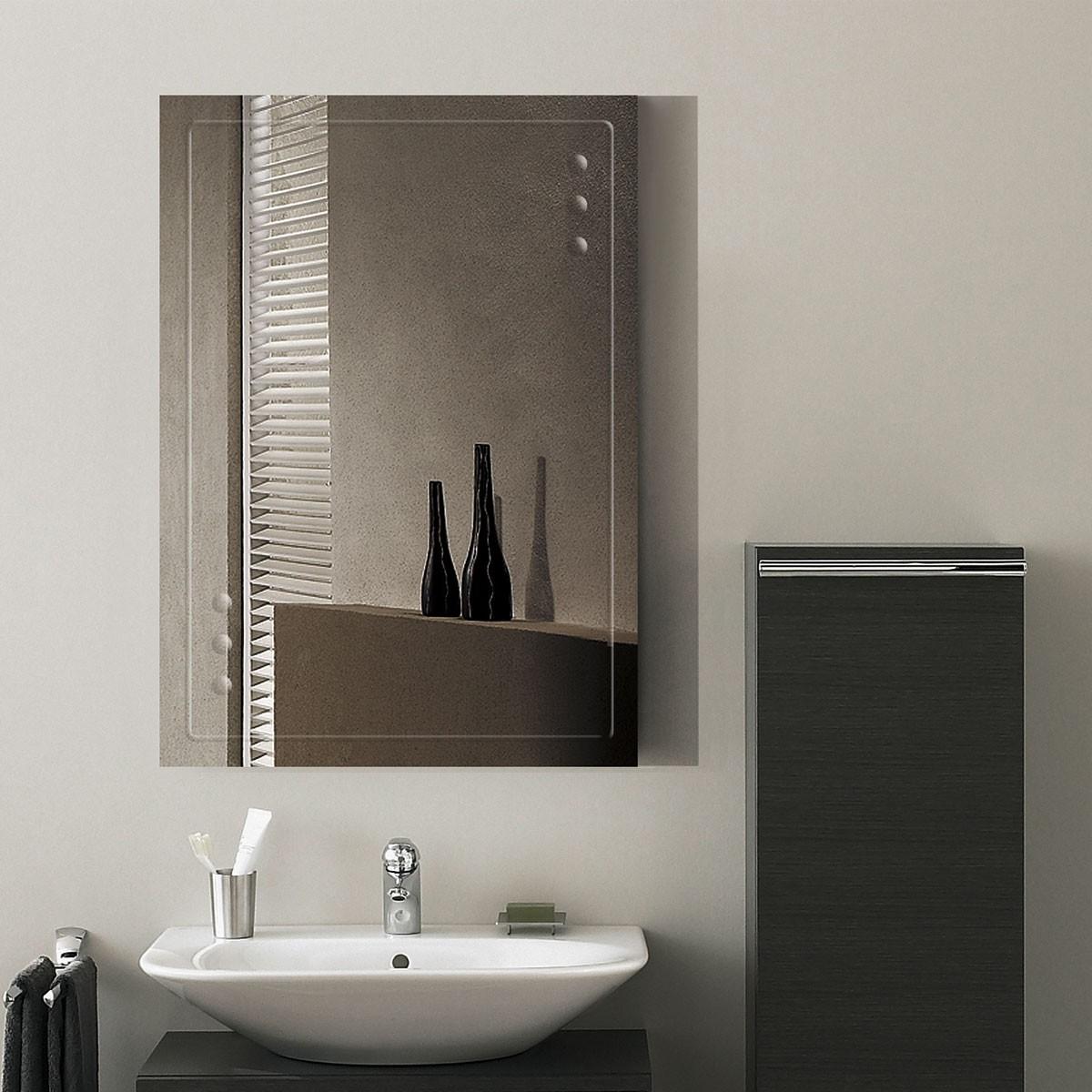 28 x 20 po miroir mural salle de bain classique for Miroir biseaute sans cadre