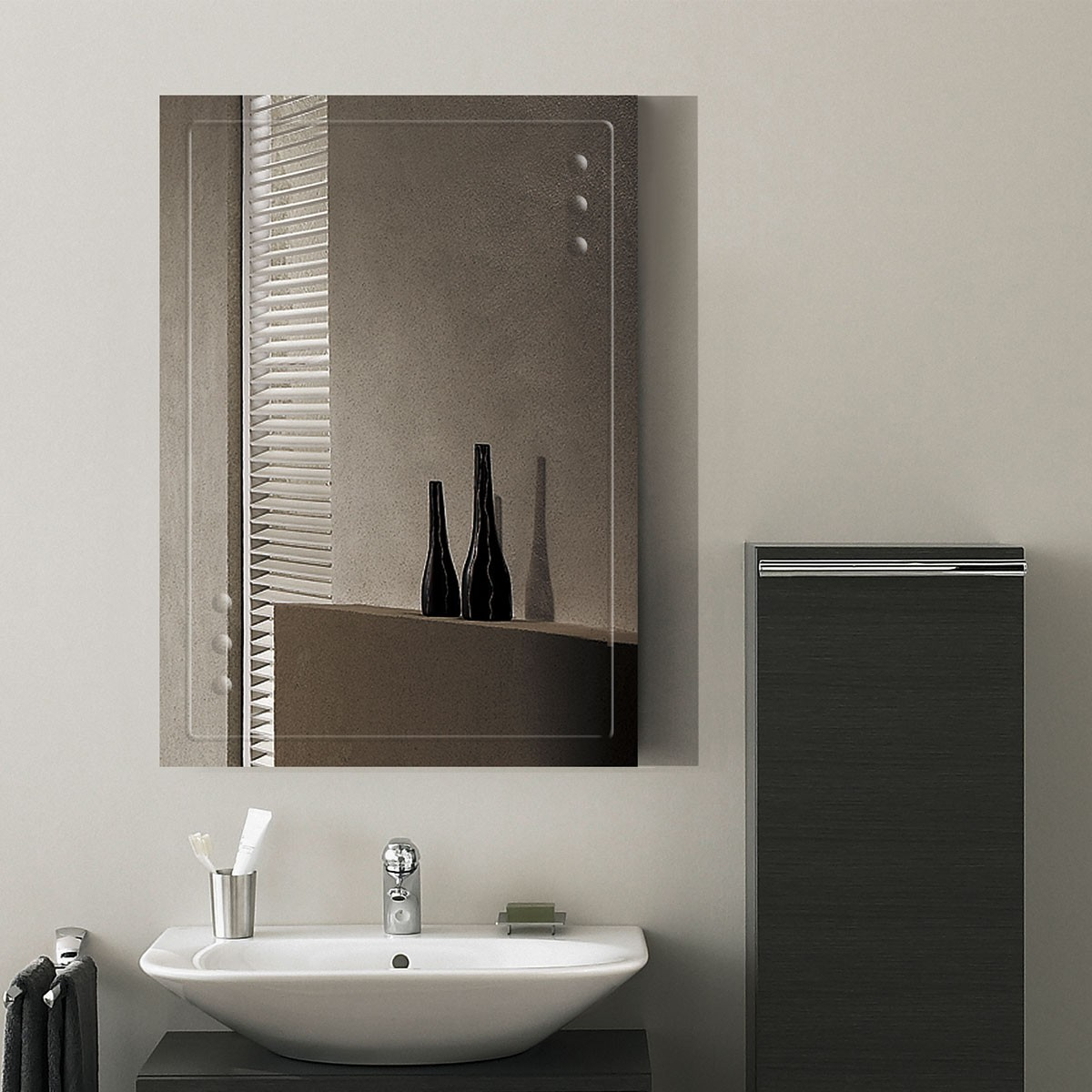 28 x 20 po miroir mural salle de bain classique rectangulaire sans cadre accrochage vertical - Miroir Mural Salle De Bain