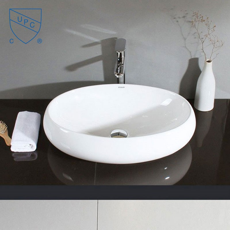 Lavabo vasque ovale de dessus de comptoir en c ramique for Dessus de comptoir salle de bain