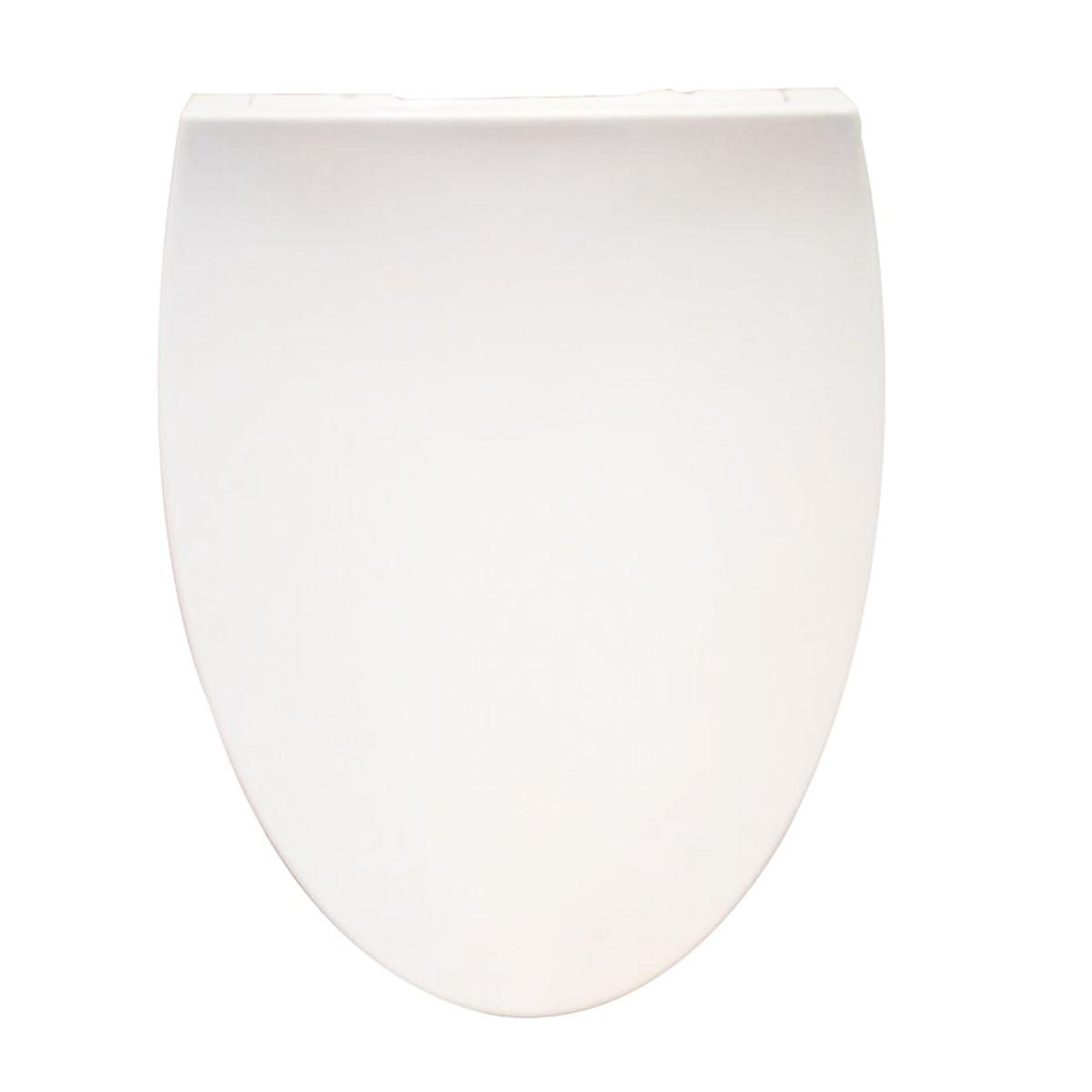 Siège de Toilette Allongé Blanc à Fermeture Douce avec Couvercle en PP (DK-CL-058)