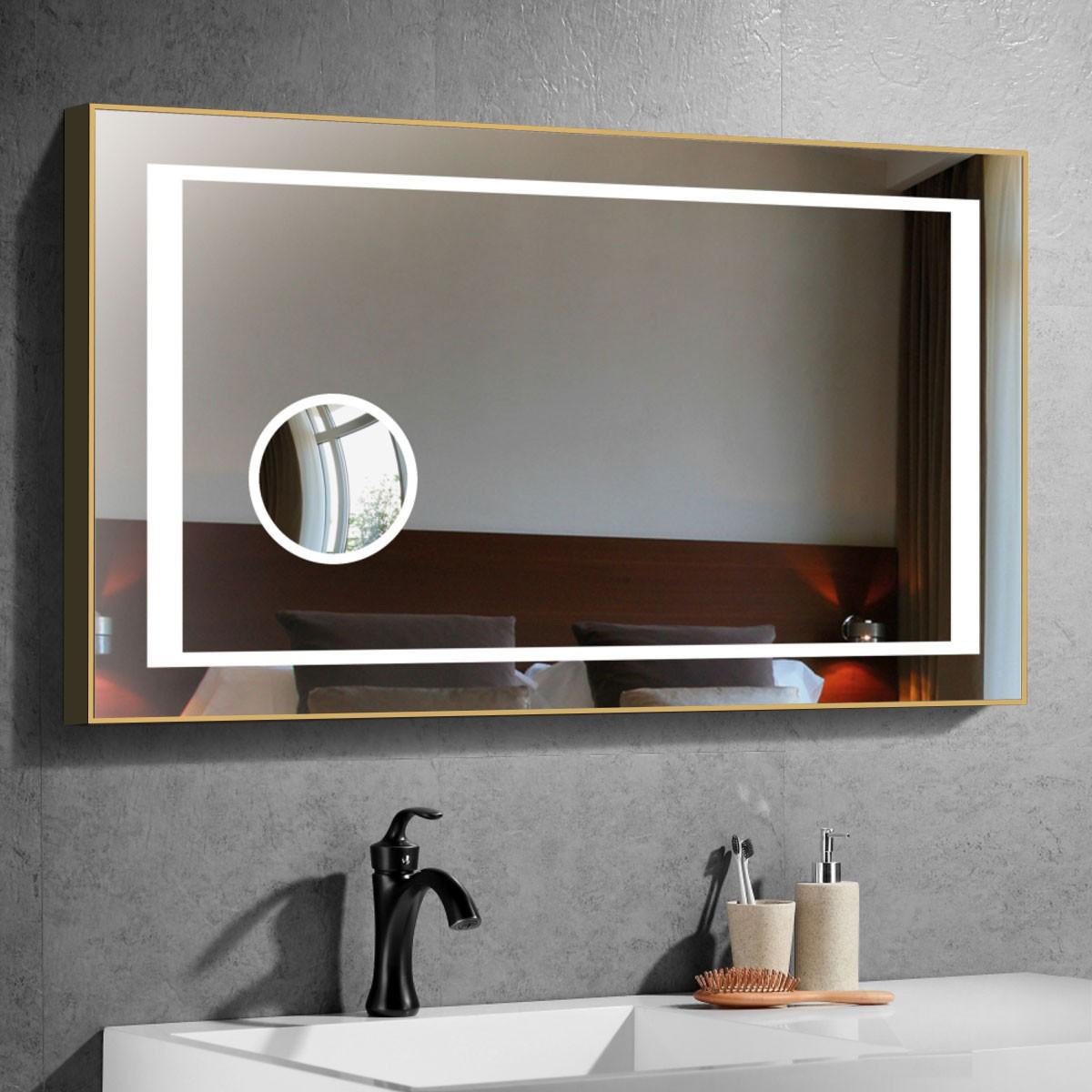 40 x 28 Po Miroir de Salle de Bain LED Horizontal avec Loupe Circulaire et Bouton Tactile (DK-CK208F)