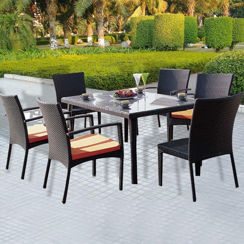 Salle à Manger de Jardin de 7 Pièces: Table à manger, 4 Chaises, 2 Chaises sans Bras(JMS-896)