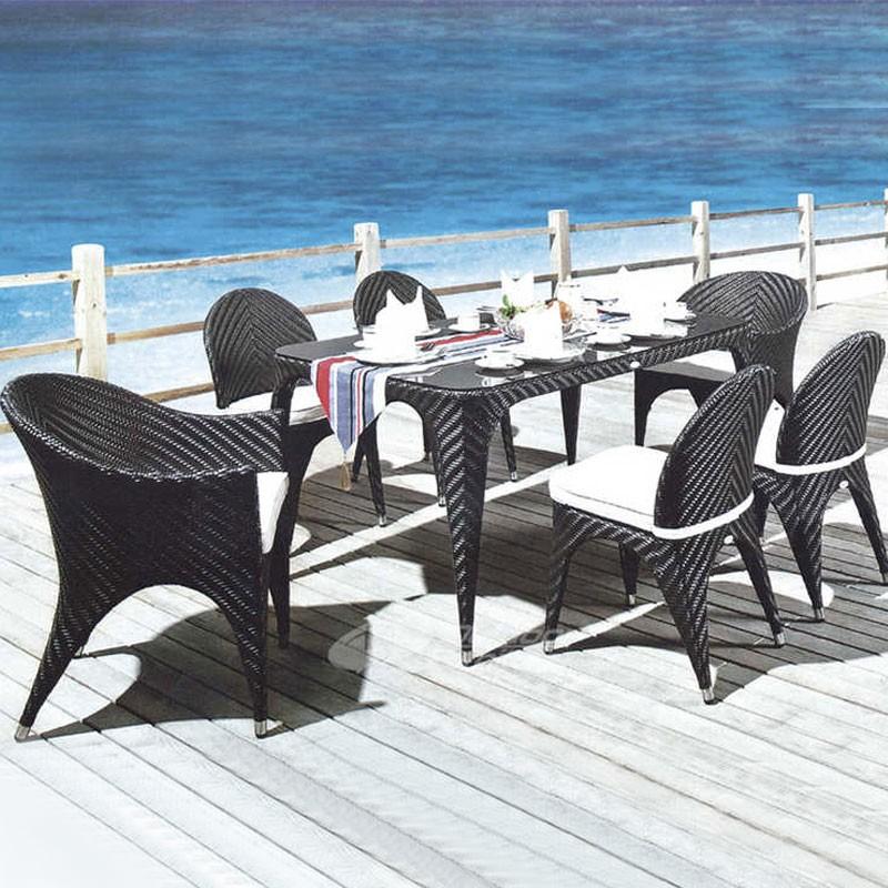 Salle à Manger de Jardin de 7 Pièces: Table à Manger, 2 Chaises, 4 Chaises sans Bras(JMS-2005)