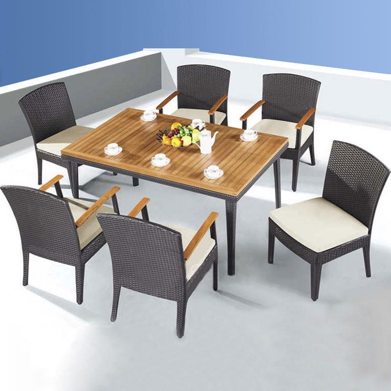 Salle à Manger de Jardin de 7 Pièces: Table à manger, 4 Chaises, 2 Chaises sans Bras(JMS-3052)