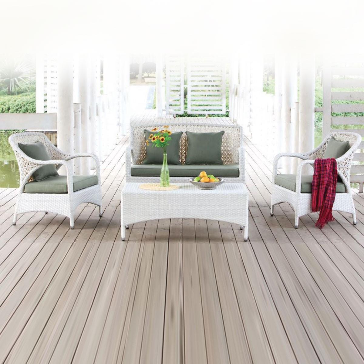 4-Pièce Salon de Jardin en Rotin avec Coussin: Causeuse, 2 Fauteuils, Table Basse (LLS-363)
