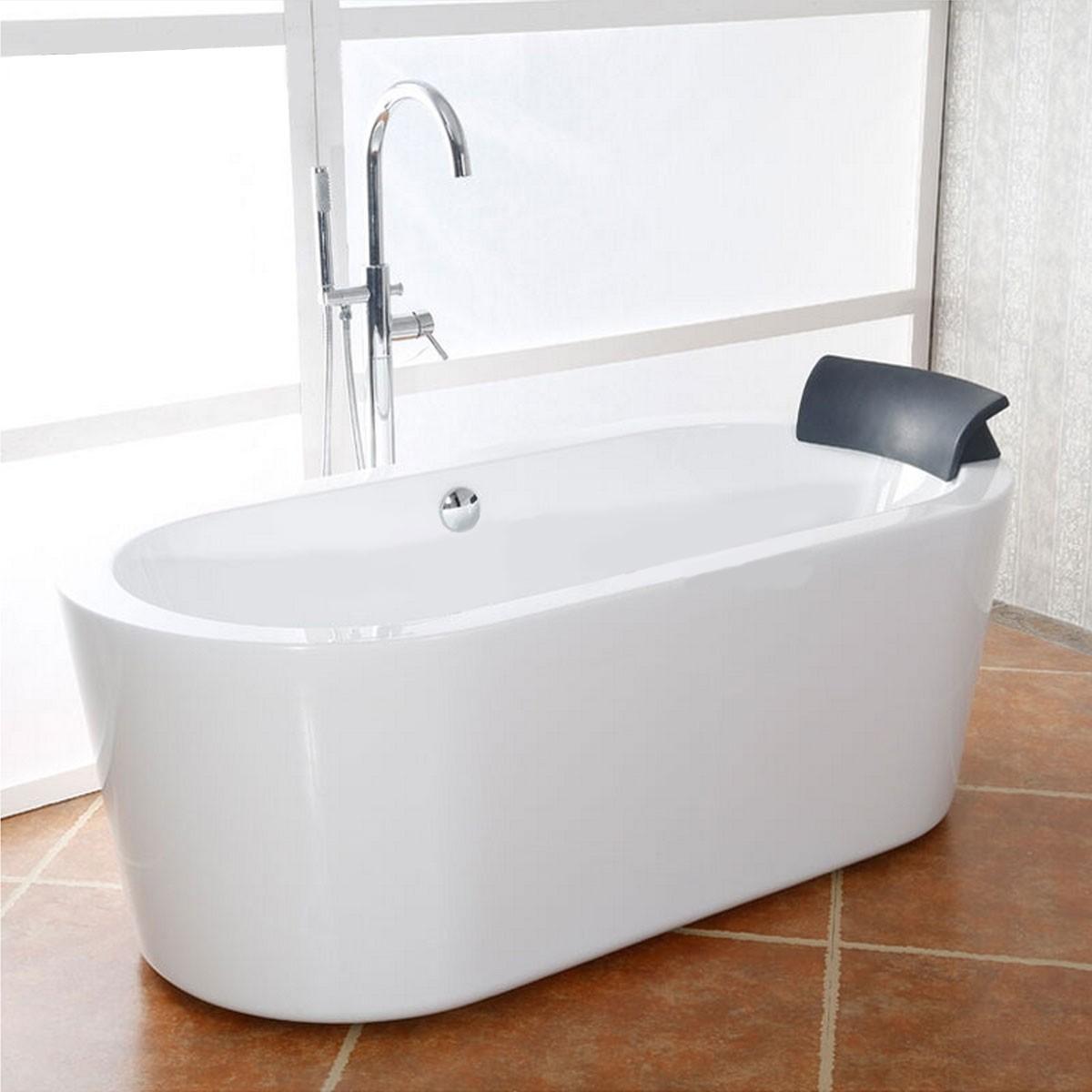 65 po baignoire autoportante blanche en acrylique sans for Plomberie salle de bain sans soudure
