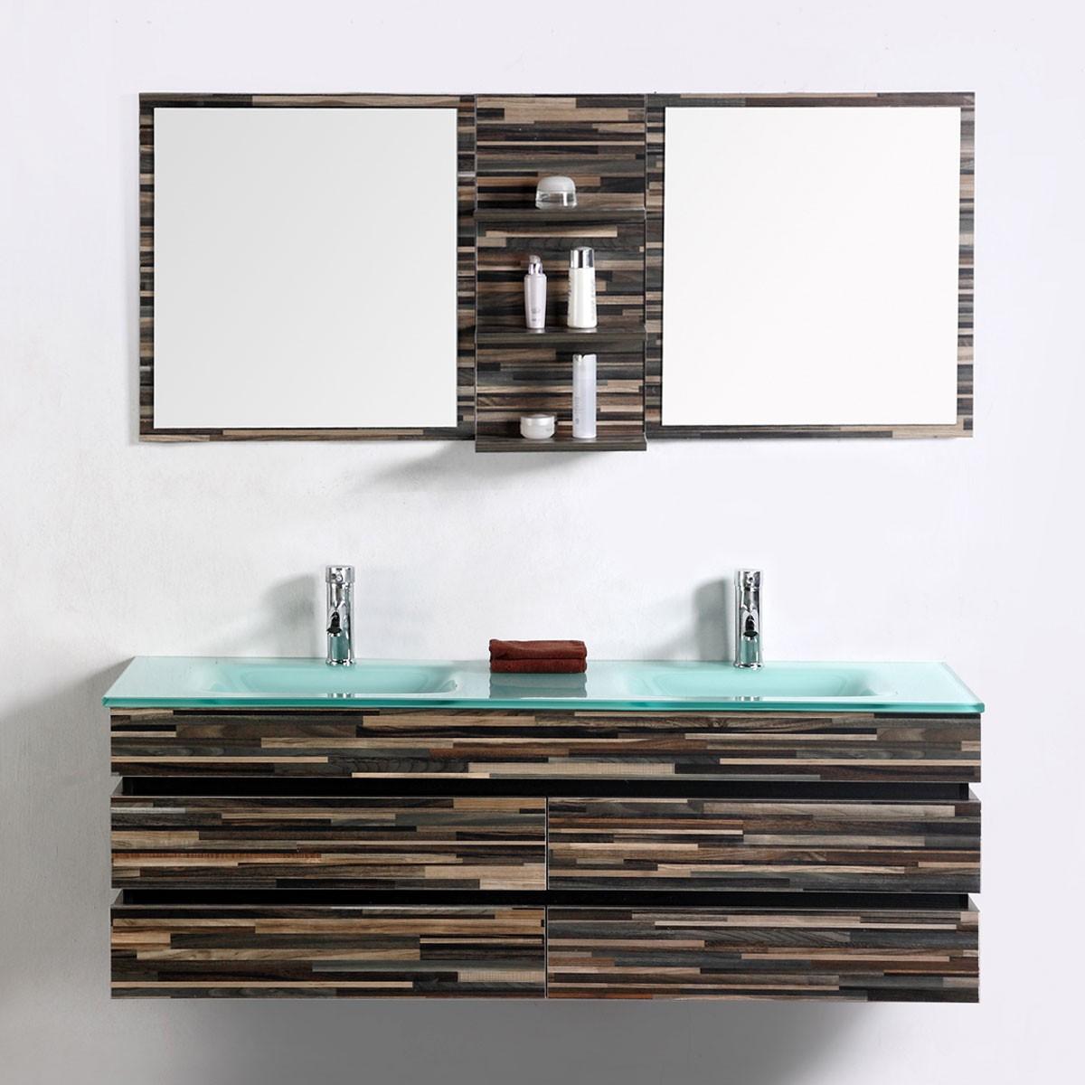 55 po meuble salle de bain suspendu au mur avec lavabo for Meuble mural avec miroir
