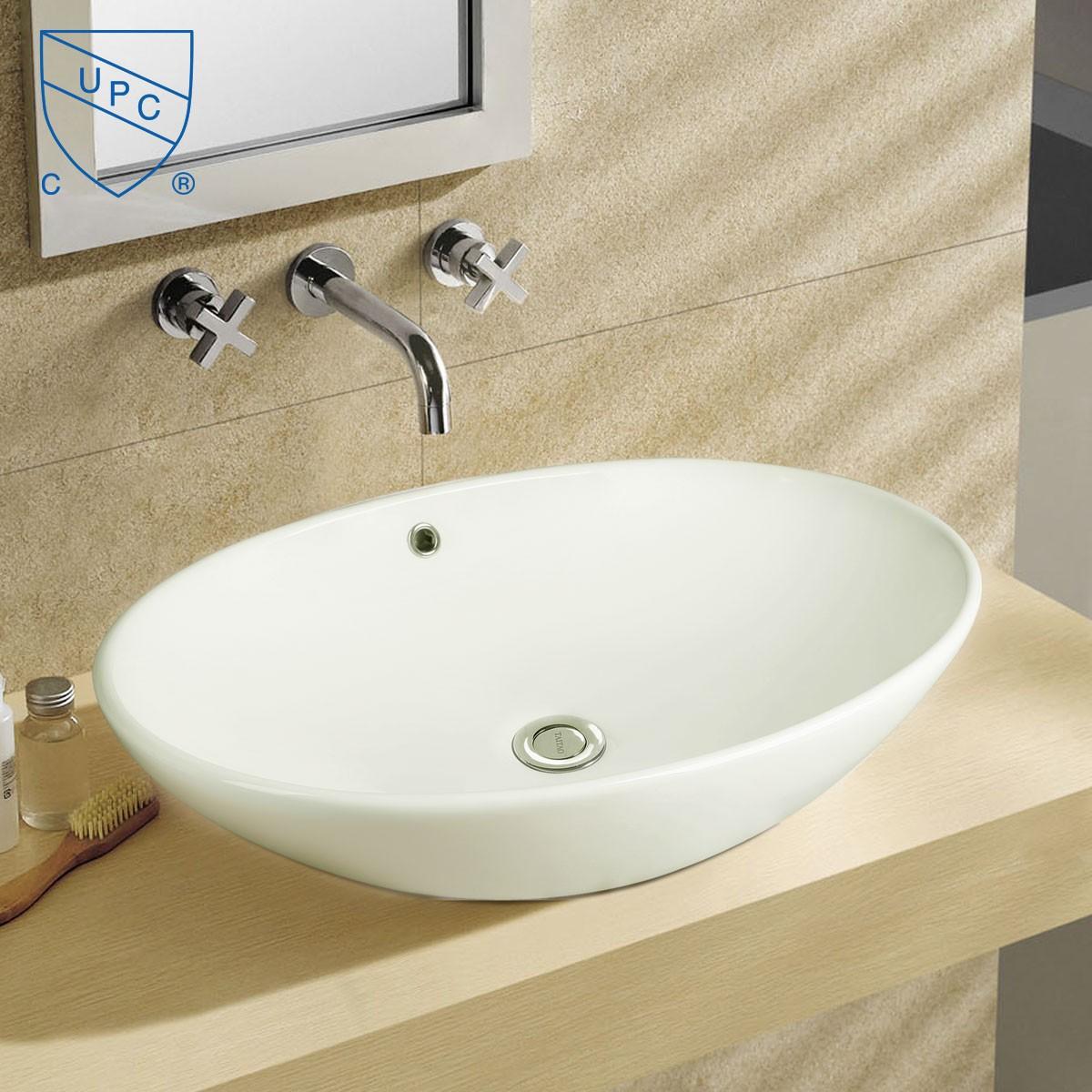 Lavabo vasque de dessus de comptoir en c ramique blanche for Dessus de comptoir de salle de bain