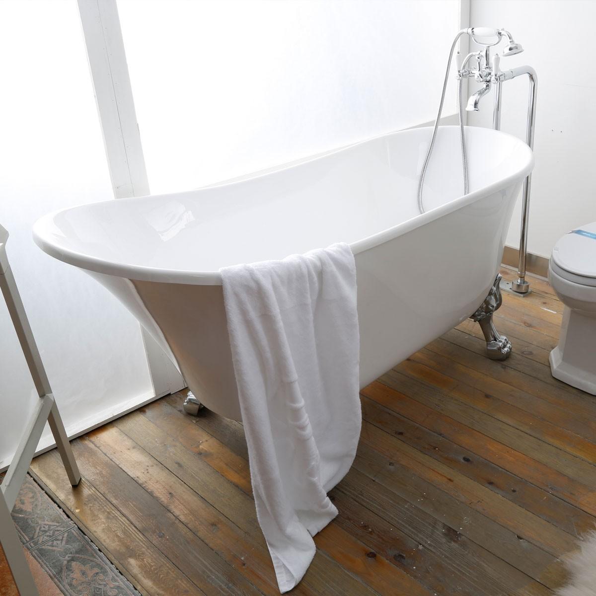 63 po baignoire sur pattes en acrylique de salle de bain blanc de niege dk pw 1675w Baignoire acrylique salle bains