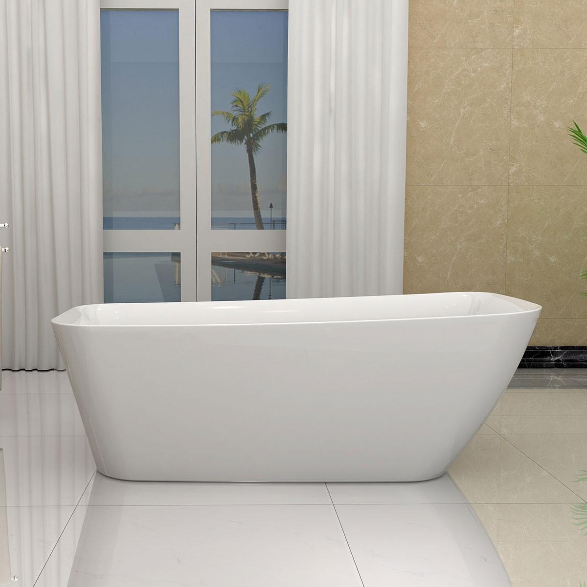 66 po baignoire autoportante blanche en acrylique sans for Plomberie salle de bain sans soudure