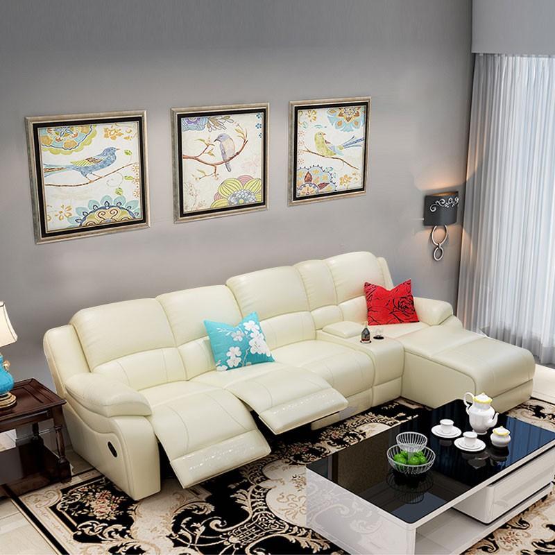 canap angle relax manuel m ridienne droite avec console en cuir simili cuir beige lh f5 1. Black Bedroom Furniture Sets. Home Design Ideas