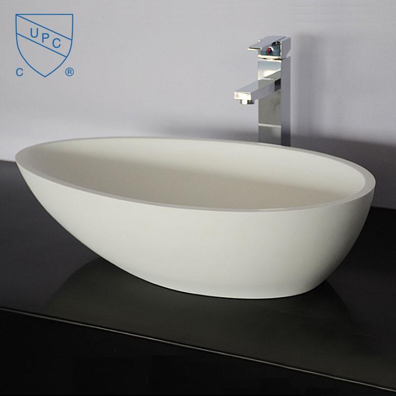Lavabo vasque ovale de dessus de comptoir en pierre de for Dessus de comptoir salle de bain