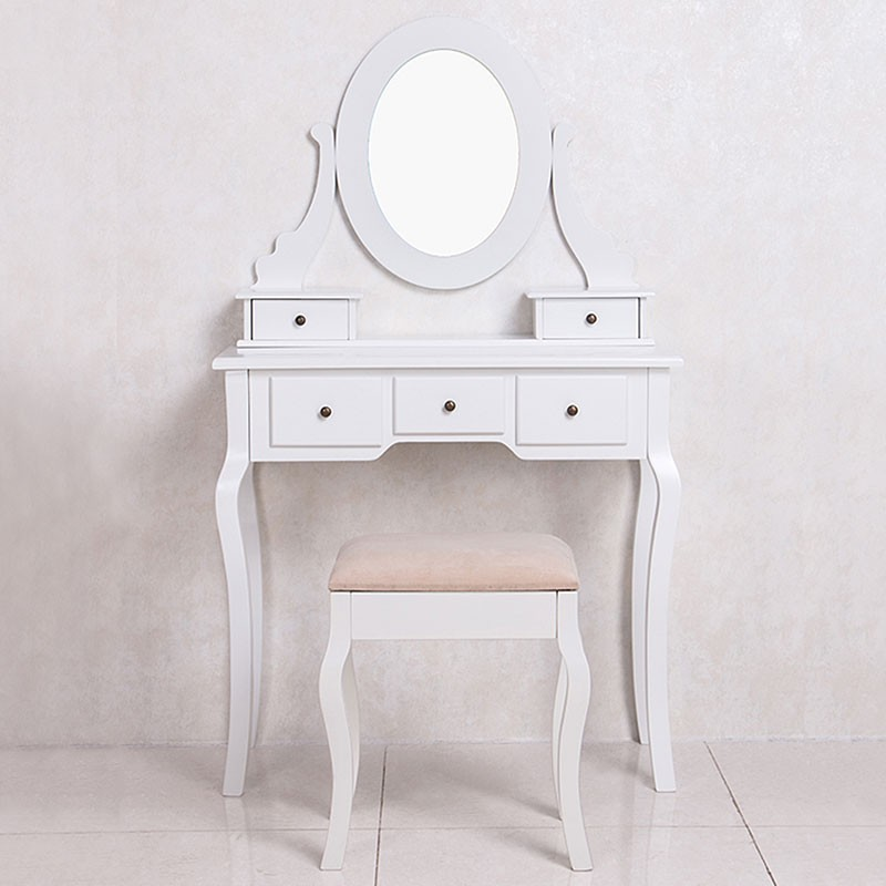 Coiffeuse avec tabouret et miroir ji13004 decoraport canada - Coiffeuse avec tabouret ...