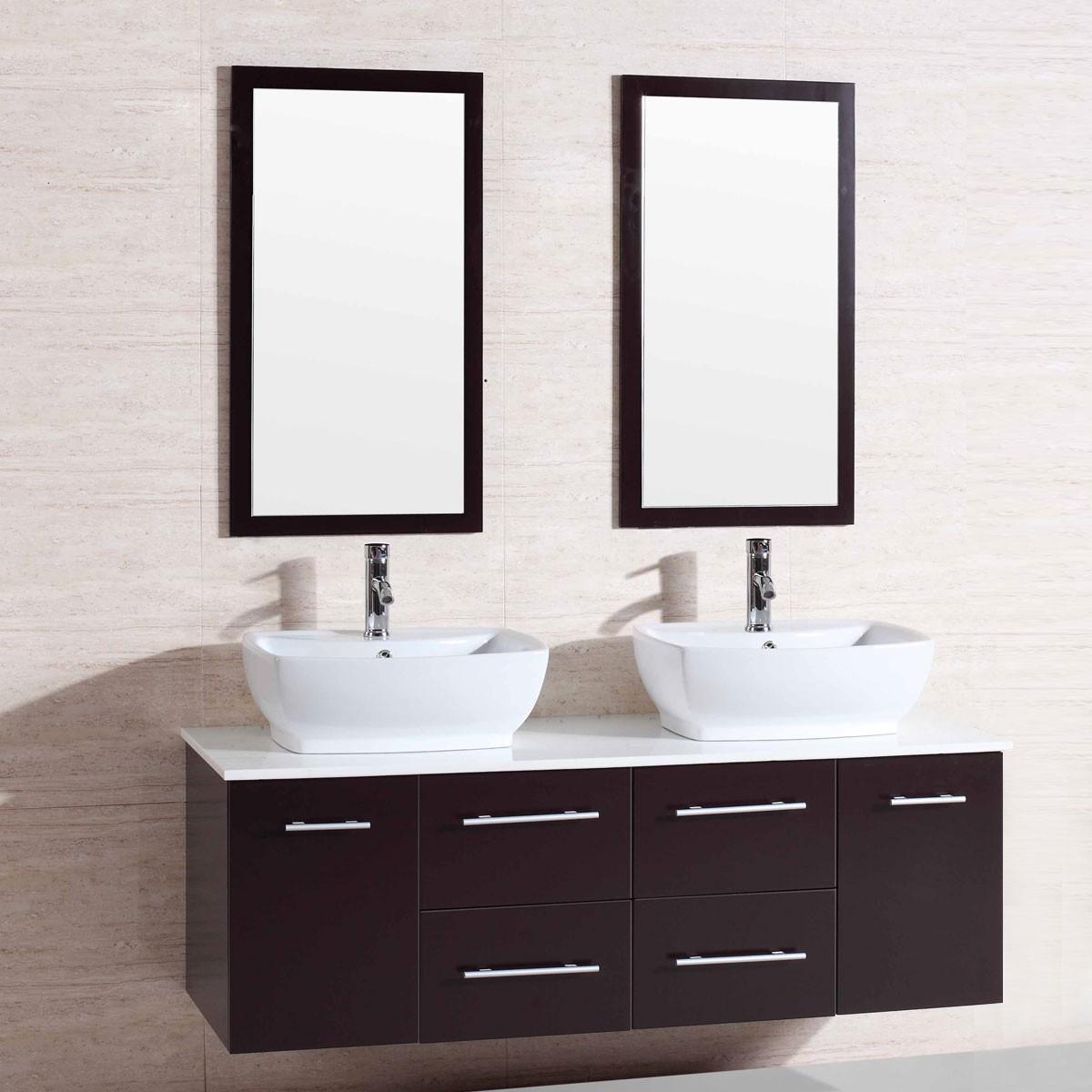 60 po meuble salle de bain suspendu au mur lavabo double for Meuble mural avec miroir