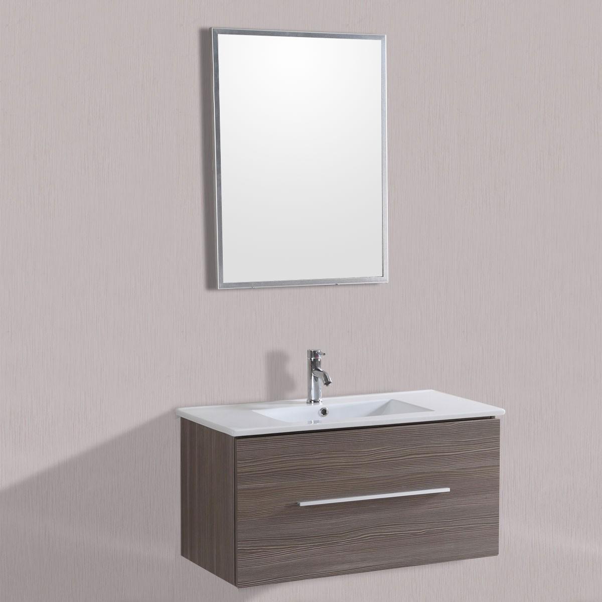 40 po meuble salle de bain suspendu au mur lavabo simple for Miroir magique au mur