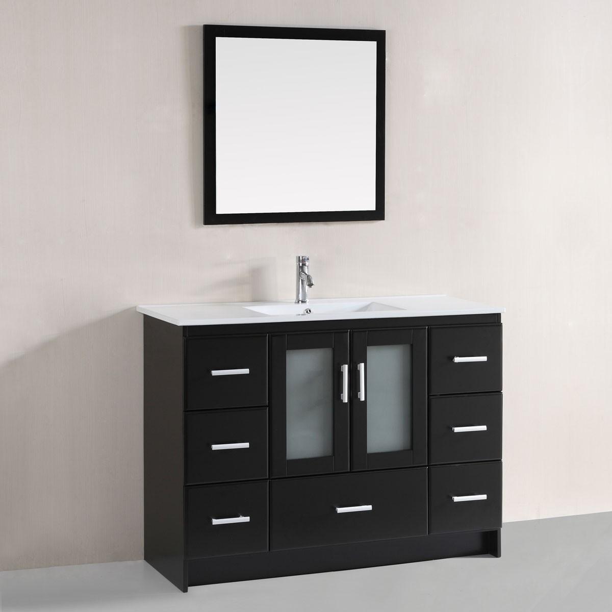 48 po meuble salle de bain sur pieds lavabo simple avec - Meuble lavabo sur pied ...