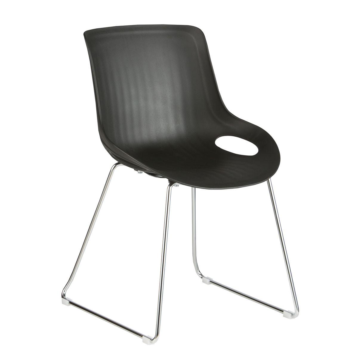 Chaise Plastique en Noir avec Piètement Luge - (YMG-9105S-1)
