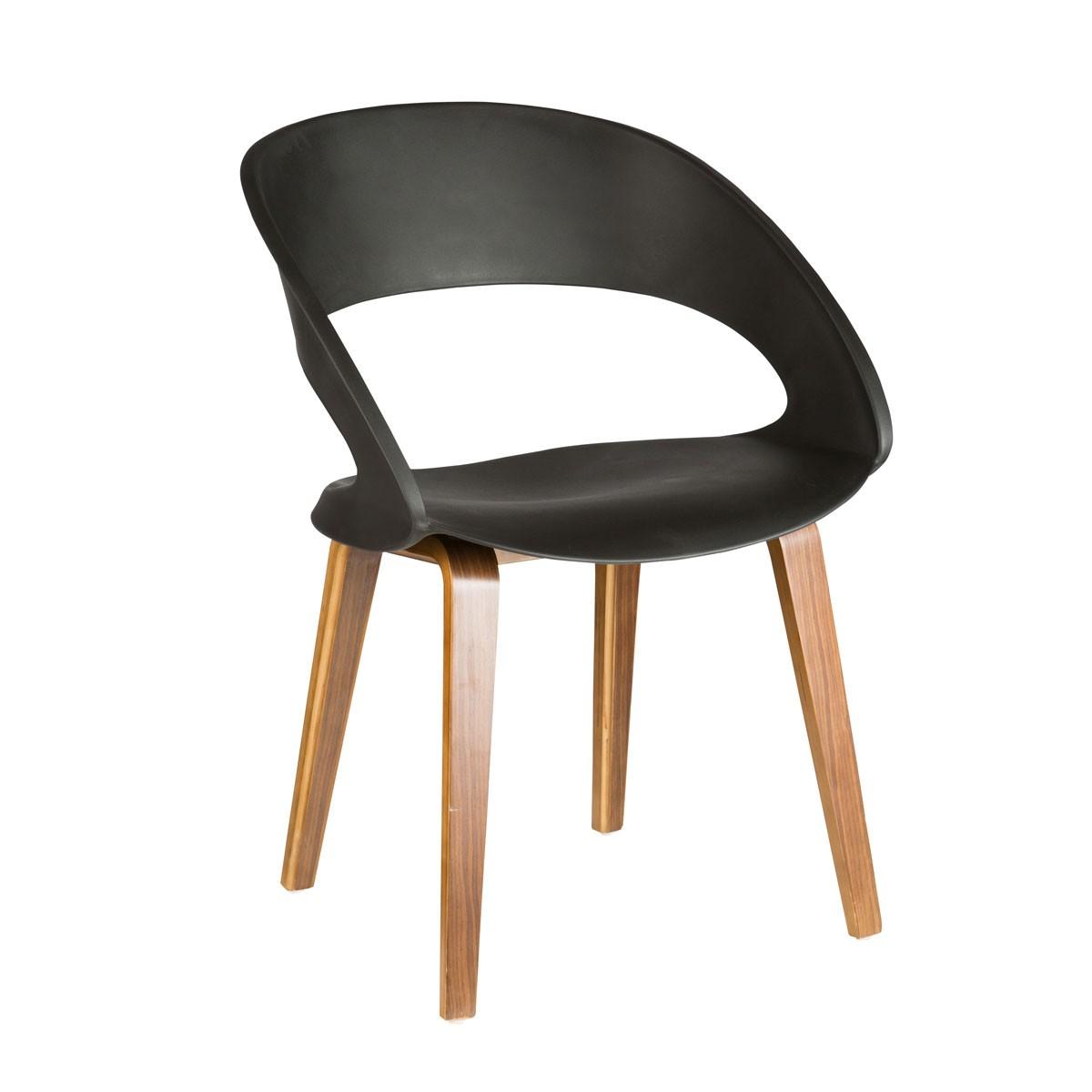 Chaise design raff pieds bois en noir ymg 9307b for Chaise noir pied bois