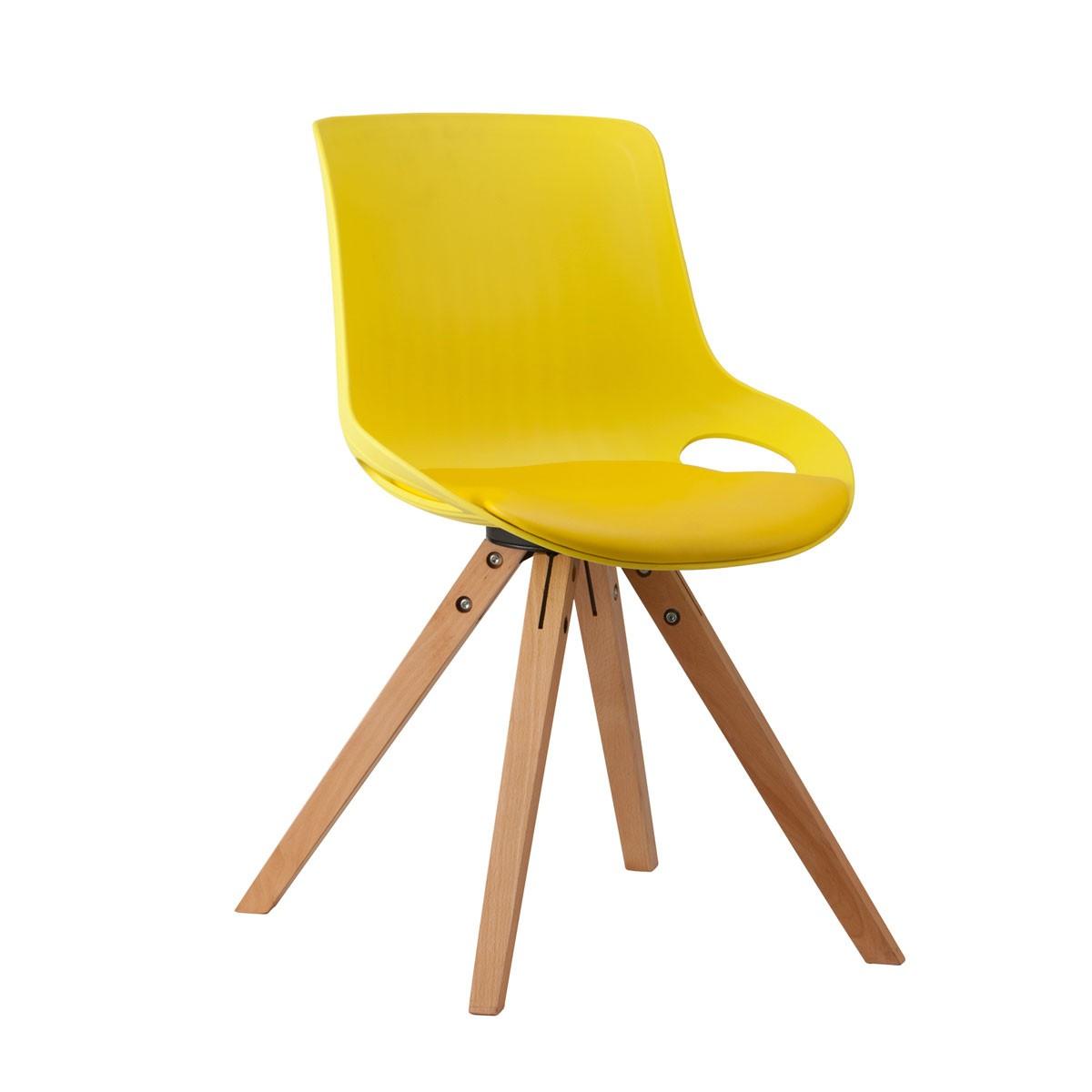 Chaise plastique en jaune avec 4 pieds bois ymg 9305c 1 for Chaise avec pied en bois