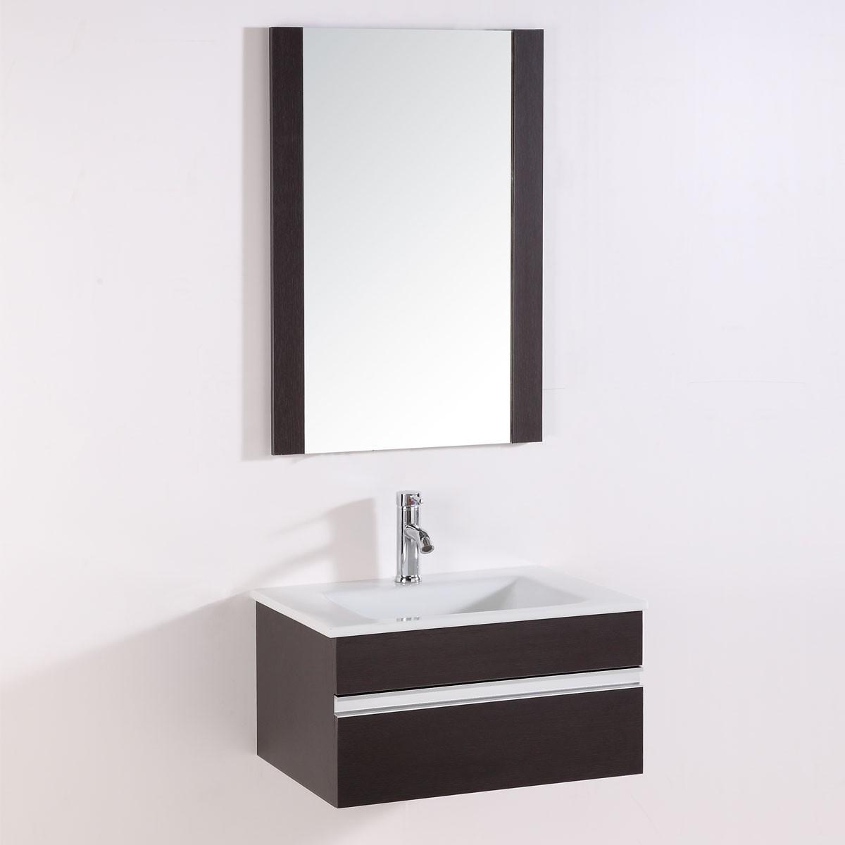 24 po meuble salle de bain suspendu au mur lavabo simple for Miroir magique au mur