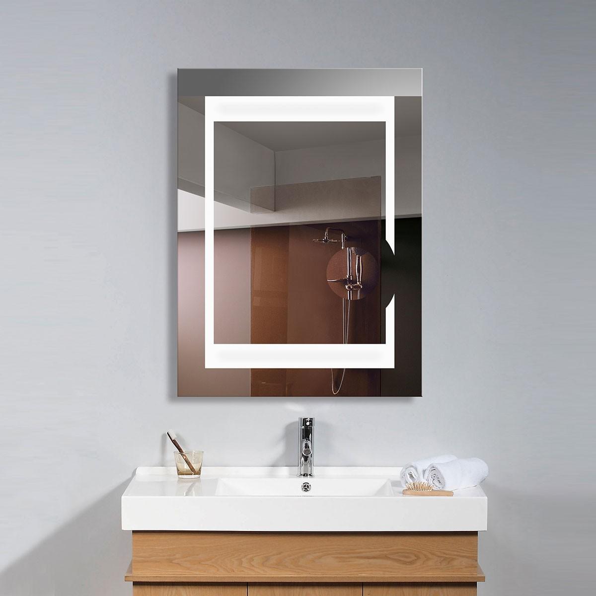 24 x 32 po miroir de salle de bain LED vertical avec loupe circulaire et interrupteur ON / OFF (DK-OD-C280)
