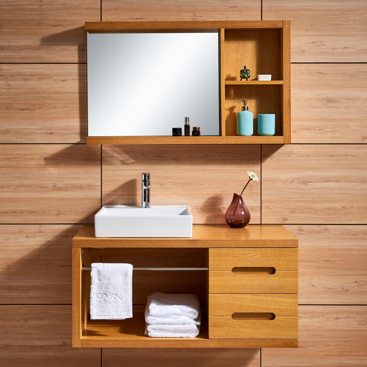 47 po meuble salle de bain suspendu au mur avec lavabo et for Miroir magique au mur
