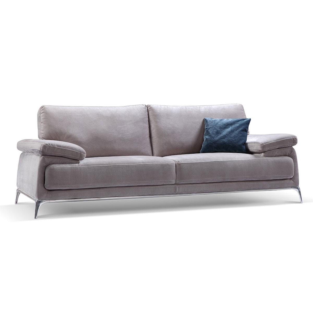 Canapé 3 Places en Tissu avec Coussin - Gris (BO-605-2S)