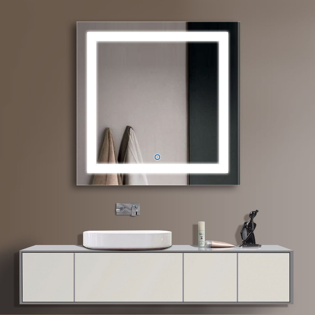36 x 36 po miroir led salle de bains vertical avec. Black Bedroom Furniture Sets. Home Design Ideas
