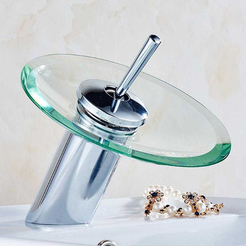 Robinet cascade de lavabo vasque laiton fini chrome for Robinet cuisine solde