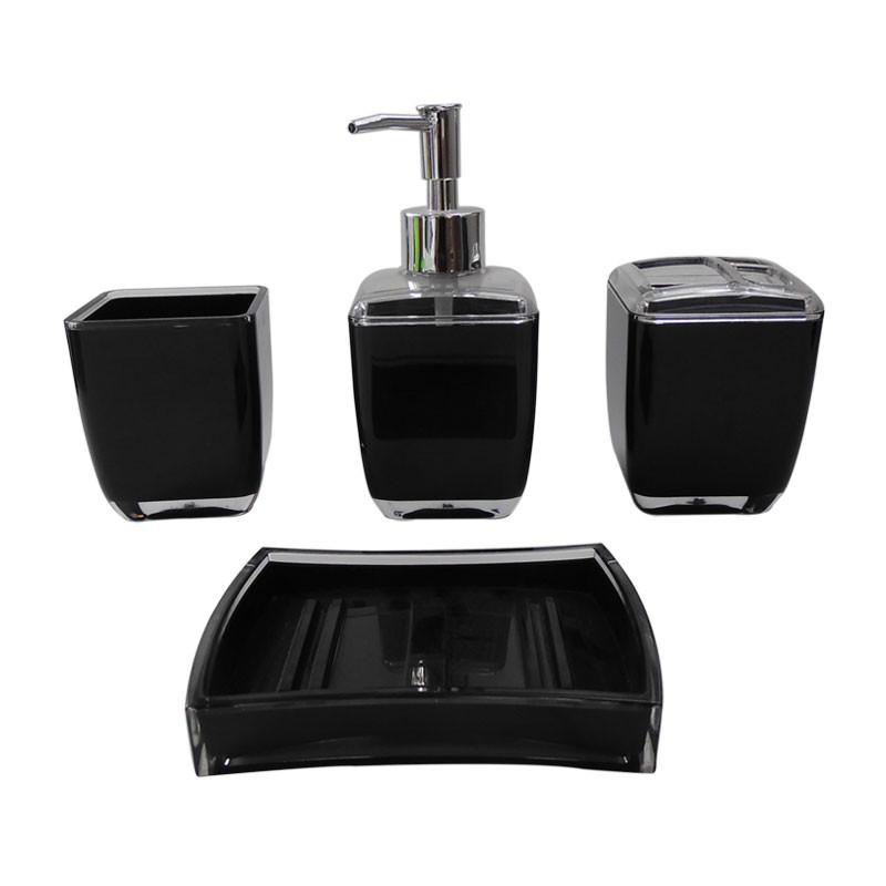 Set 4 accessoires salle de bain rectangulaire et noir dk for Accessoire salle de bain noir