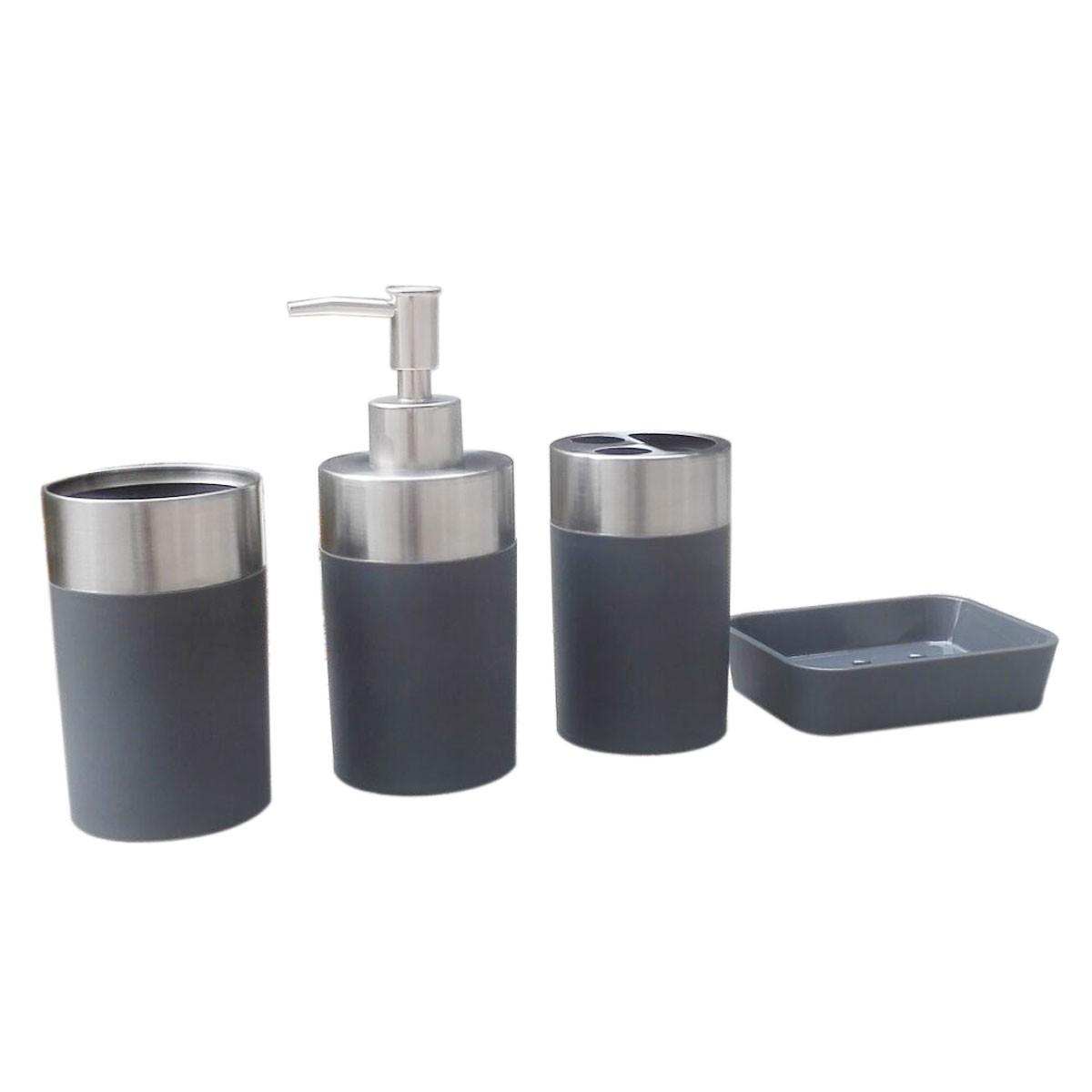 Set 4 accessoires salle de bain gris dk st021 for Accessoires lavabo salle bain
