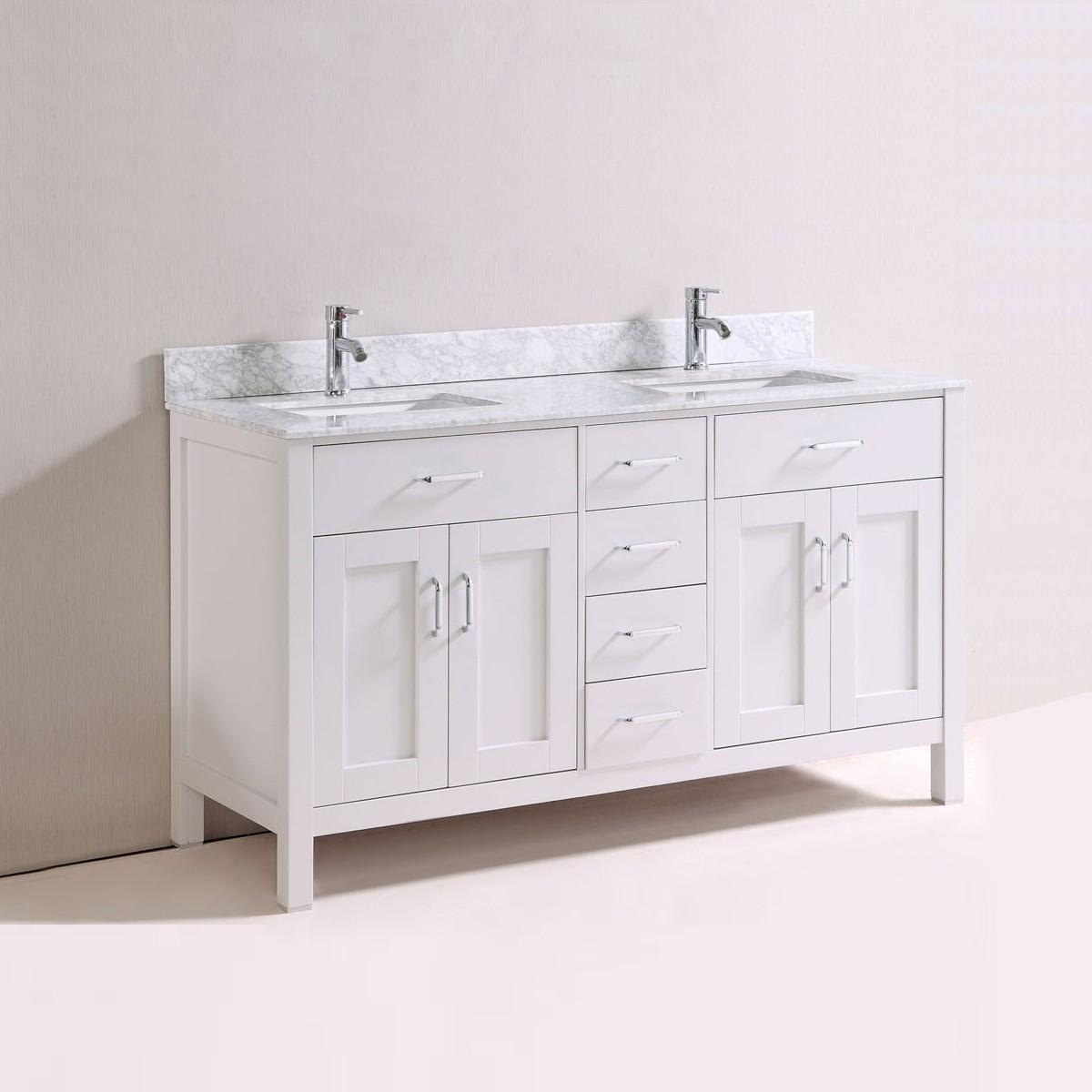 60 po meuble salle de bain sur pieds lavabo double avec for Meuble lavabo solde
