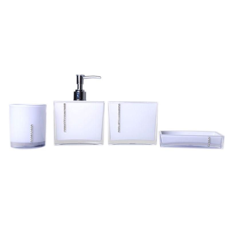 set 4 accessoires salle de bain blanc dk st025 decoraport canada. Black Bedroom Furniture Sets. Home Design Ideas