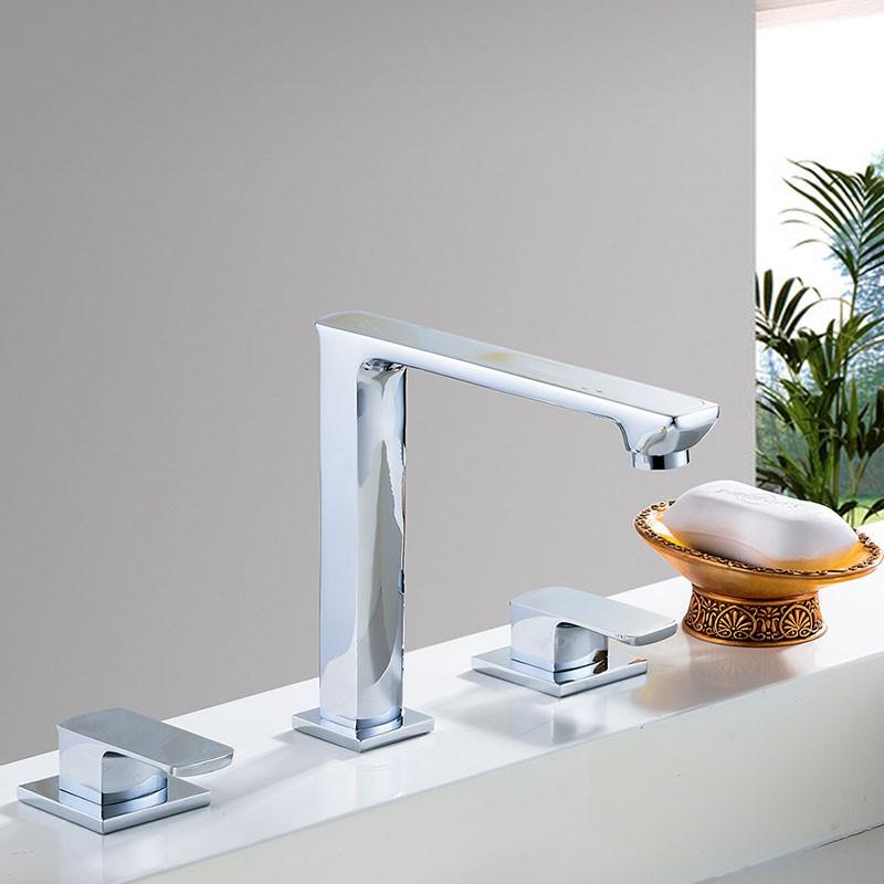robinet de baignoire lavabo vasque rectangle double levier laiton fini chrome 83h25 chr a. Black Bedroom Furniture Sets. Home Design Ideas