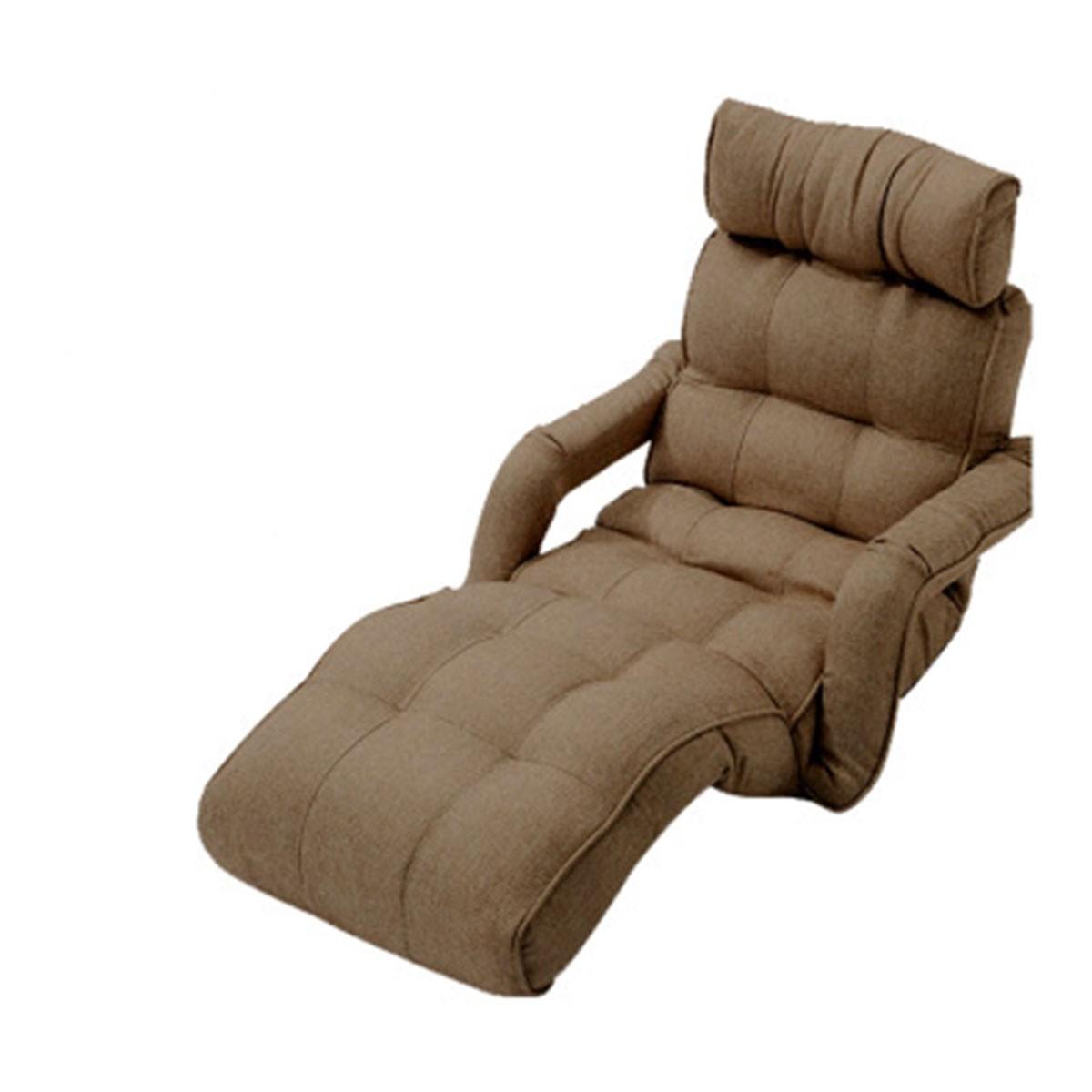 Sofa Pliable à l'étage en Tissu Lin et en Café Foncé (K16RS01-DC)