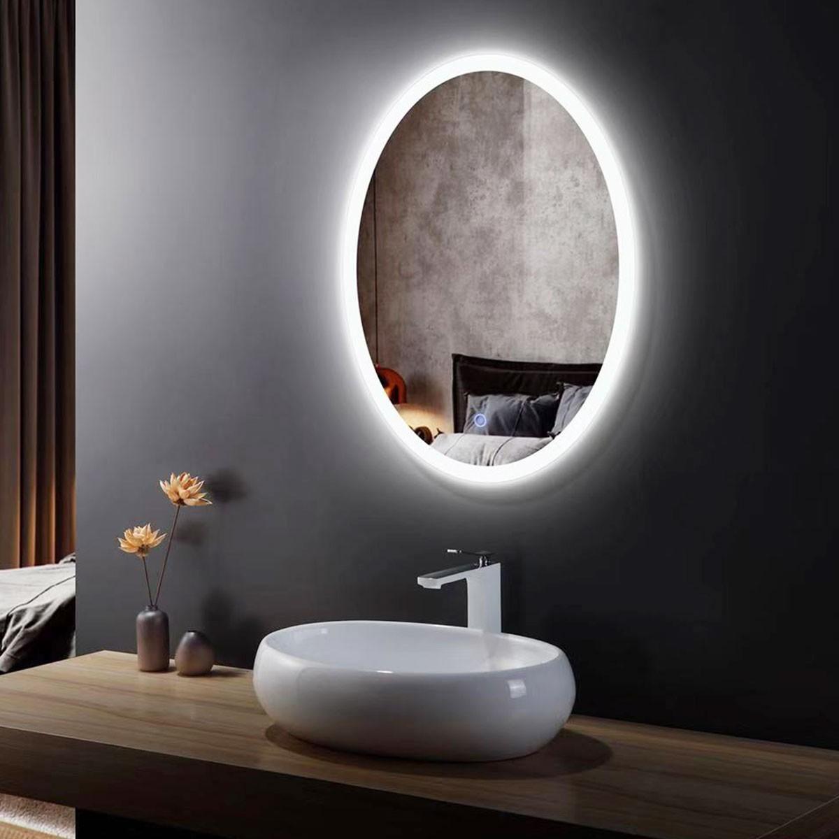 20 x 28 po miroir de salle de bain LED oval avec bouton tactile (DK-OD-CL054-H)